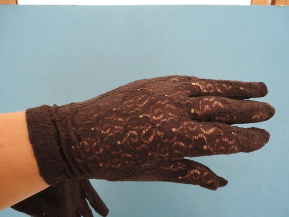 Vintage Chocolate Brown Stretch Nylon Flower Lace