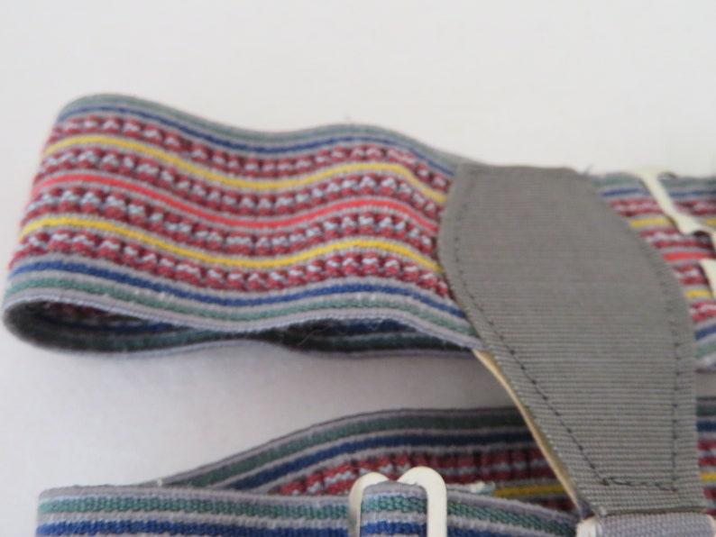 Multicolour BlueGreenRedYellowGreyBrown Stripes 1950/'s Vintage Royal Sock GartersSuspenders in Original Box by Winfield Unworn
