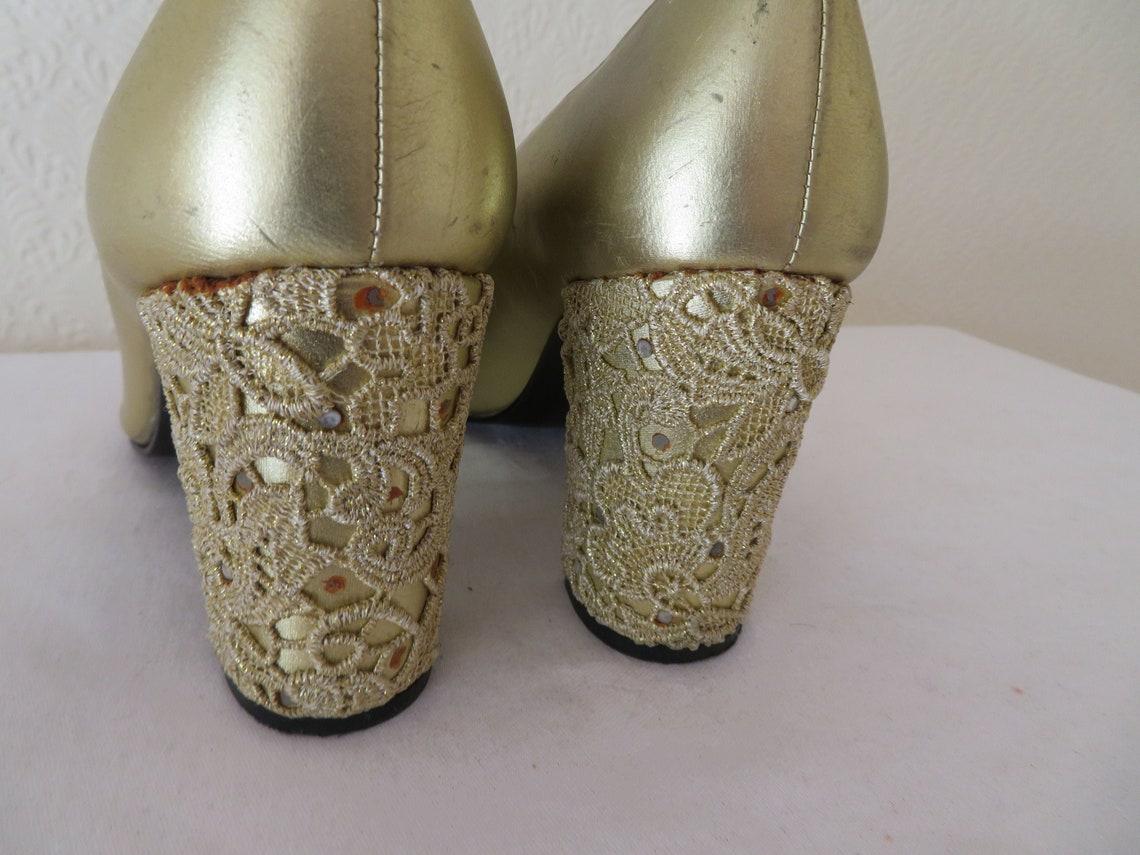 Vintage Designer zapatos de cuero y encaje de cuero y encaje de Stuart Weitzman para Russell & Bromley - 1990's - EUR 38 UK Sz 5.5 US 7.5