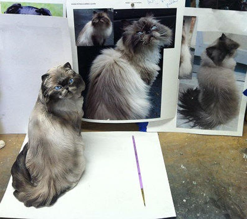YOUR  Persian Any Breed from your Photos long haired Snowshoe or Himalayan CUSTOM Cat Sculpture or pet Urn hand made in Porcelain Clay