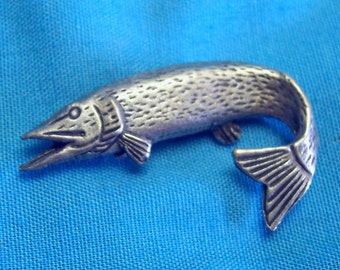 Pike Pin, Fathers Day, Fishing Gift, Mothers Day, Gift for Him, or Her, Best Friend, Boyfriend, Handmade, Lead Nickel Free, Choose Color