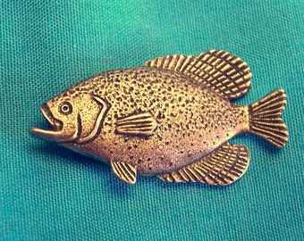 Crappie, Sun Fish Pin, Handmade, Lead and Nickel Free, Gold Plate, Butterfly Clutch