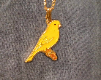 Yellow Canary Necklace, Handmade, Gold Plate, Hand Painted, by American Pewter Works, Lead Nickel Free, Matching Chain