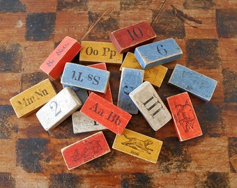 Antique Victorian Wood Blocks / Letters, Animals & Numbers / As Found Set Of 18