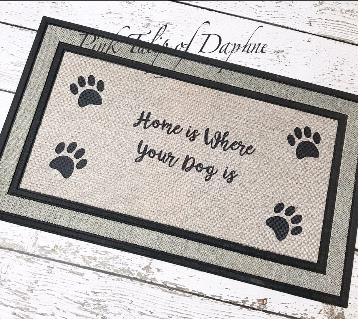 Paw Print Door Mat, Home Is Where Our Dog Is Mat, Welcome Mat With Paw  Prints