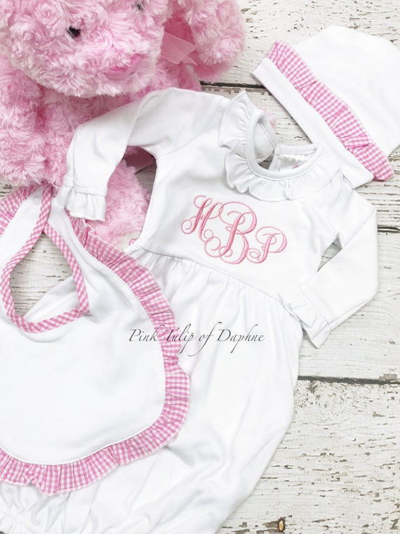 Monogrammed Empire infant gown Infant girl gown newborn