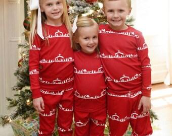 Nativity Stripe Christmas PJs PREORDER, Family Christmas pjs, Monogrammed Christmas PJs