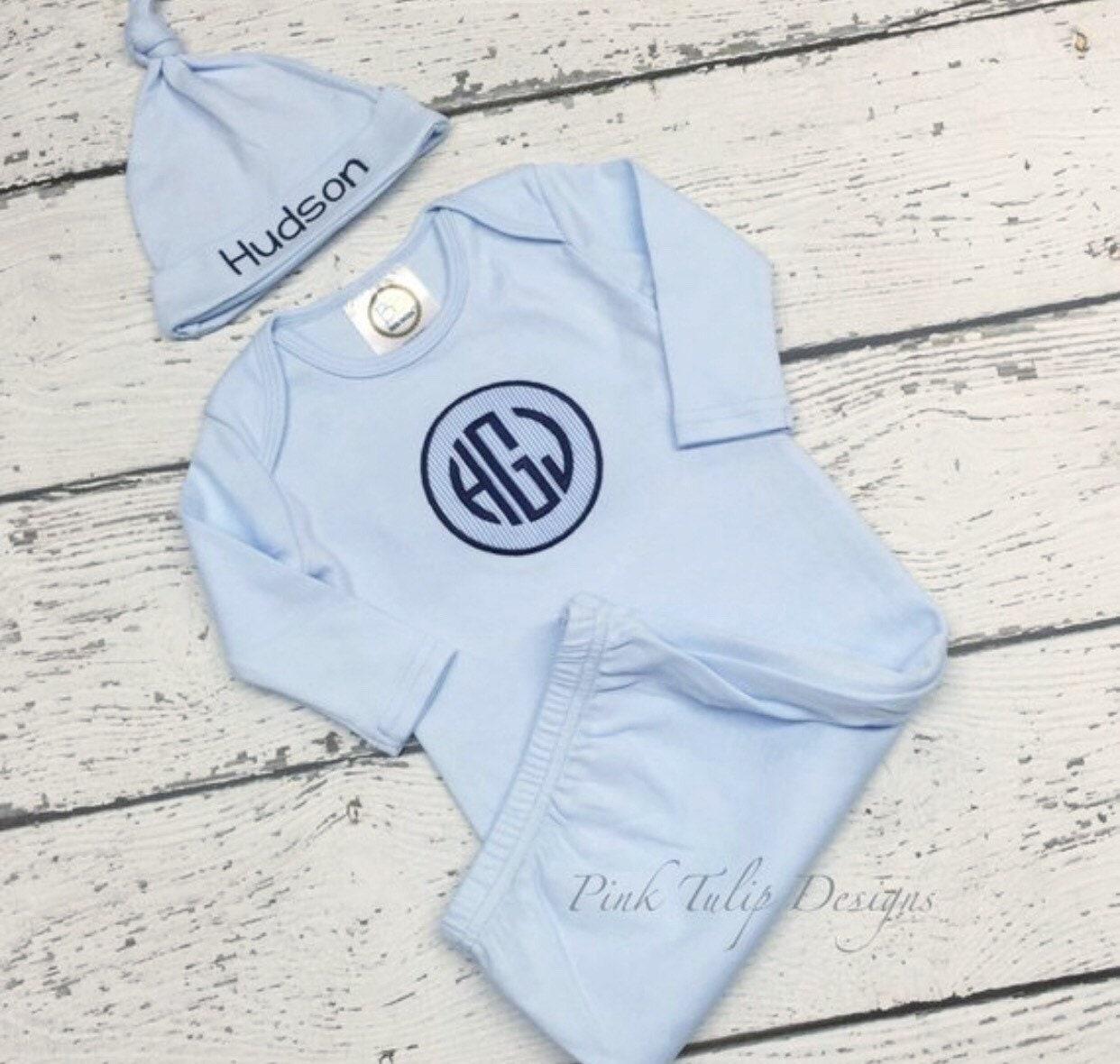 Monogrammed Infant boy gown, newborn gown, Baby Boy Monogrammed ...