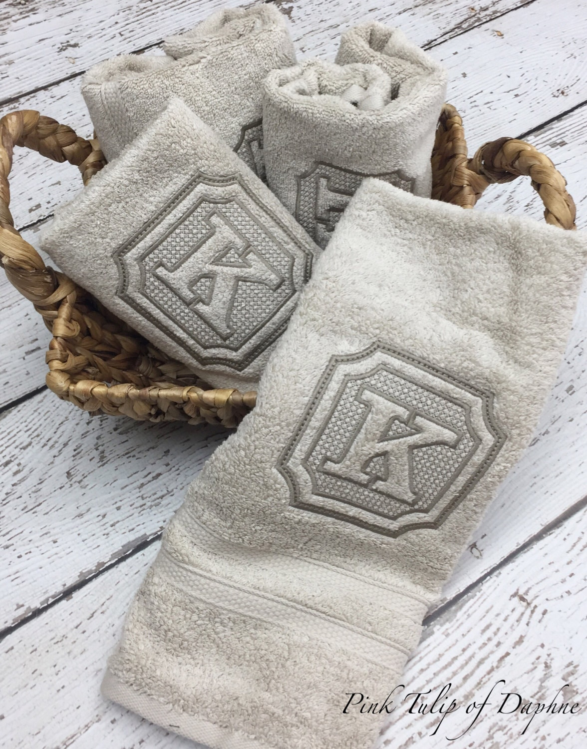 Pair Of Monogrammed Hand Towels Wedding Gift Personalized Towels