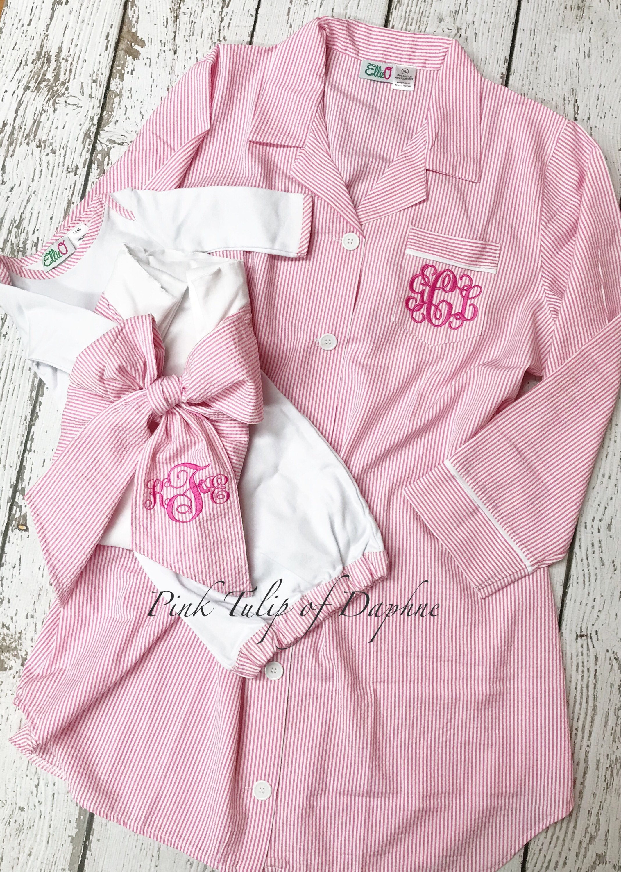 Mommy and Me Pink SLEEPSHIRT Set, Hospital Sleep-shirt, Infant Gown ...