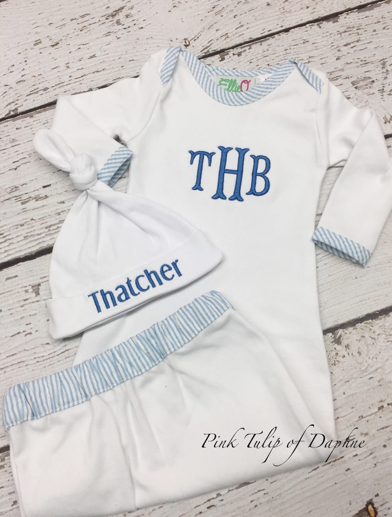 560f41e69f72f Seersucker infant gown, Homecoming clothes, Infant gown, Infant boy gown,  Monogrammed infant gown, Newborn gown