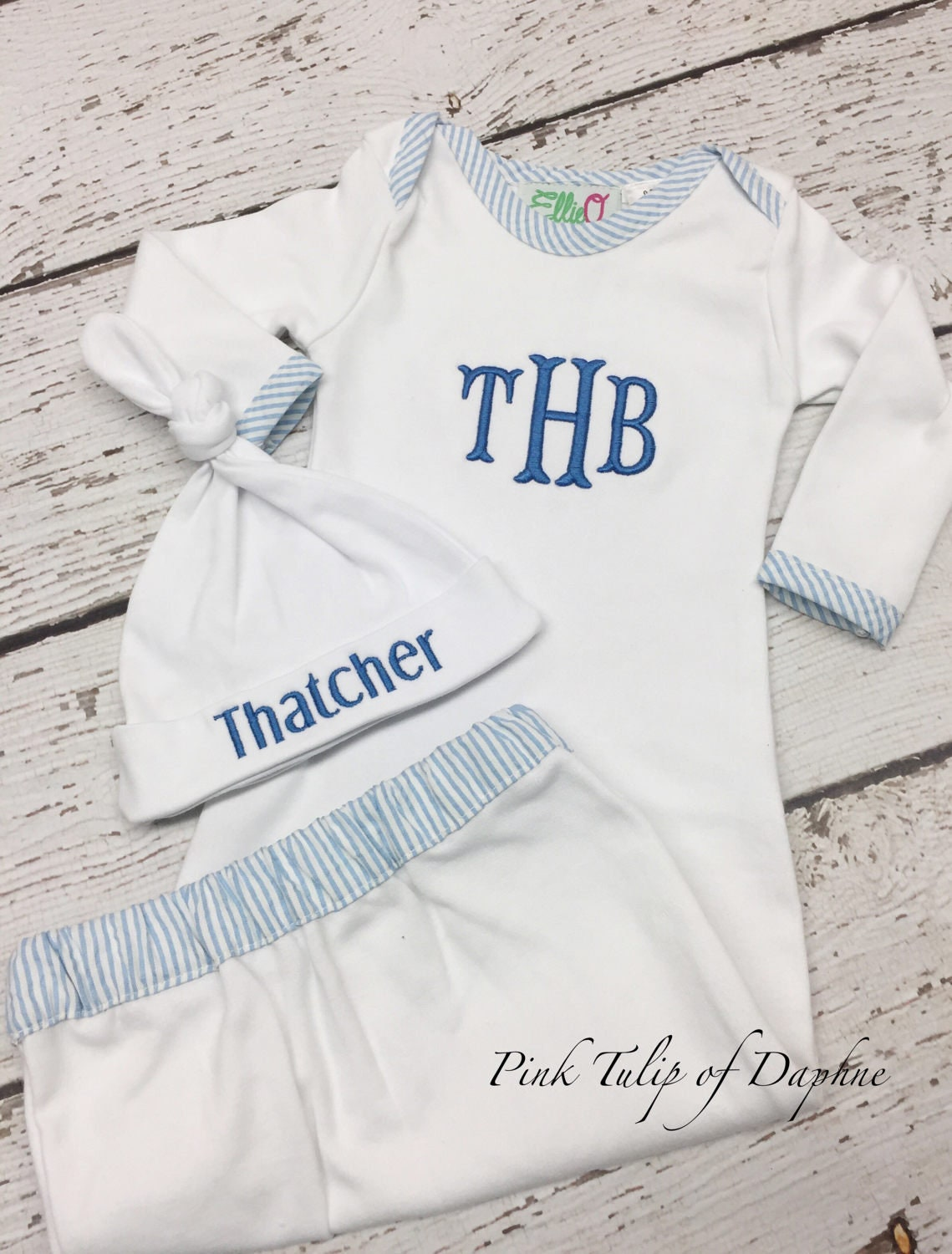 Seersucker infant gown, Homecoming clothes, Infant gown, Infant boy ...