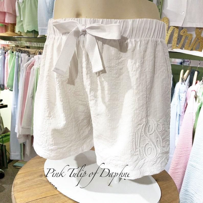 Personalized Bridesmaid shorts Monogrammed White seersucker Scallop Shorts WHITE SCALLOP SHORTS Wedding shorts