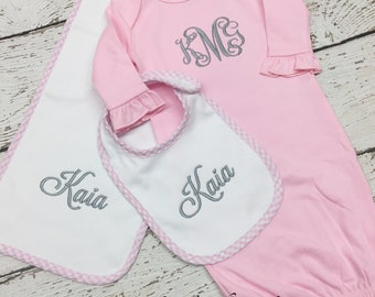 Infant gown set, gown, bib, burp cloth, monogrammed gown set, gingham bib set, baby girl monogrammed gown set