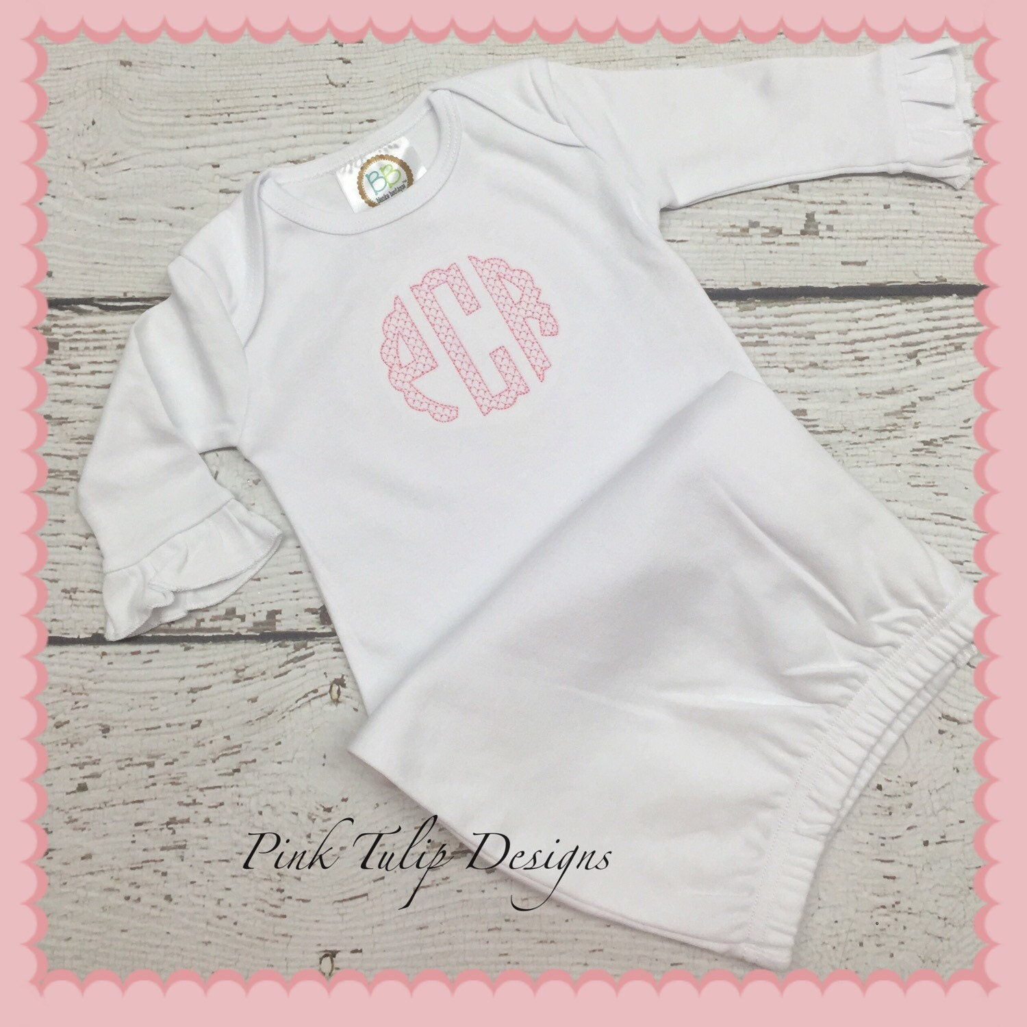 Infant gown with monogram, monogrammed baby gown, Infant Girl ...
