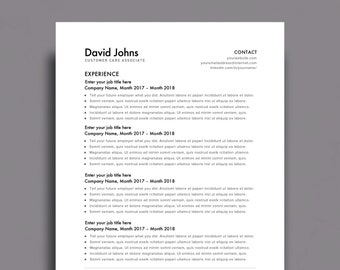 "Resume Template 1 page | CV Template + Cover Letter for MS Word | Instant Digital Download | ""The Modern"""