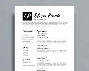 "Resume Template 1 page | CV Template + Cover Letter for MS Word | Instant Digital Download | ""The Eliza"""