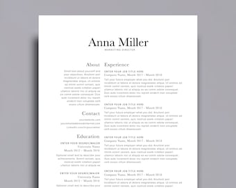 "Resume Template 1 page | CV Template + Cover Letter for MS Word | Instant Digital Download | ""The Anna"""