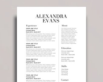 "Resume Template 1 page | CV Template + Cover Letter for MS Word | Instant Digital Download | ""The Alex"""