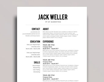 "Resume Template 1 page | CV Template + Cover Letter for MS Word | Instant Digital Download | ""The Weller"""