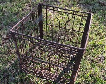 Vintage Metal Milk Crate, Wire Basket, Storage Box