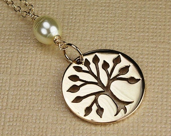 Gold tree of life necklace family tree family charm tree of life charm gold tree necklace with pearl family tree charm pearl necklace cream