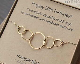 50th Birthday Gift For Women 5 Gold Interlocking Rings Necklace