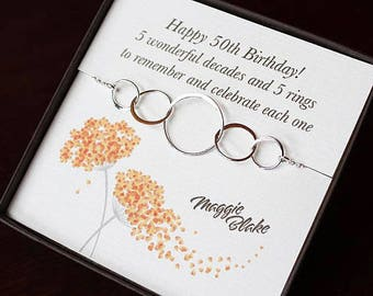 50th Birthday Gift For Women 5 Silver Interlocking Rings Necklace Sterling Circle Decades