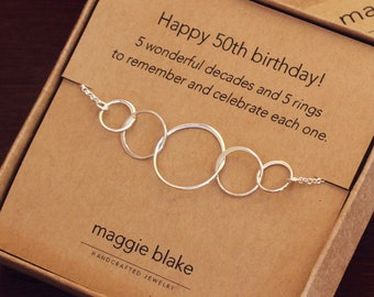 50th Birthday Gift For Women 5 Sterling Silver Interlocking Rings Necklace