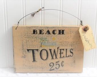 Beach towel sign -  Pool towel sign - beach home decor - Distressed sign art - beach decor – pool rustic sign - Beach decor ideas