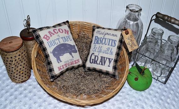 biscuits gravy kitchen Ornies tuck bowl basket primitive vintage rustic country