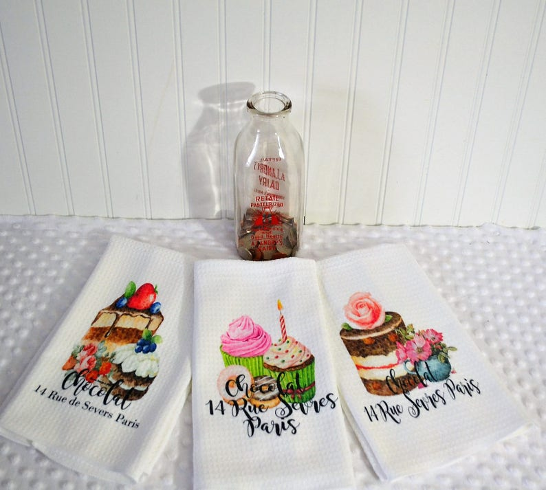 French Kitchen Hand Towel Cake Design Kitchen Towel Retro Etsy