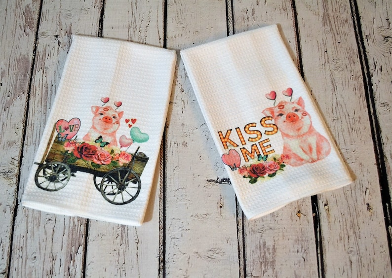Waffle Funny Pig Kitchen Towel Kiss Me Dish Towel Country Etsy