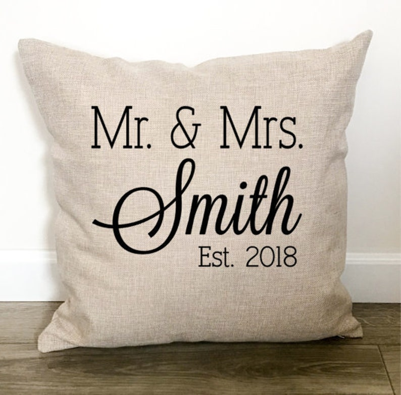 Personalized Family Name Mr and Mrs Tea Towel with Date