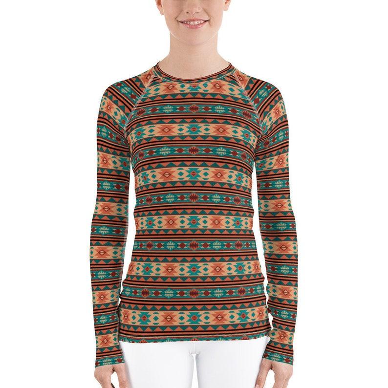 0035f65eb7065 Southwestern Design Native American Tribal Pattern Tan Blue Green Red Black  Turquoise Terracotta Brown Gray Women's Rash Guard