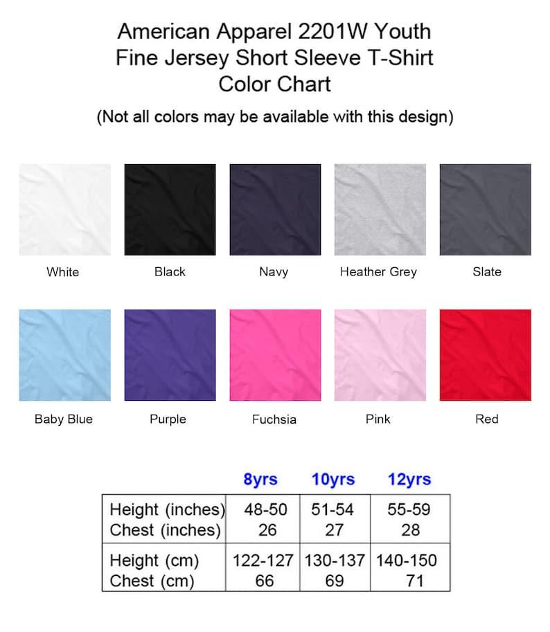 5104efa40224f Cute Purple Blue Green Yellow Orange Red Pink Black White Winged Baby  Dragon American Apparel 2201W Youth Fine Jersey Short Sleeve T-Shirt