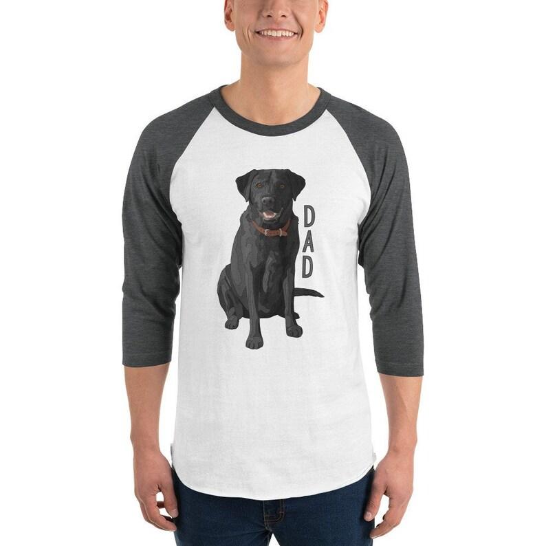 b5655b9ccda8b Lab Dad Fox Red Black Yellow Chocolate Brown Labrador Retriever Dog Lovers  3/4 sleeve Tultex 245 Unisex Fine Jersey Raglan Shirt