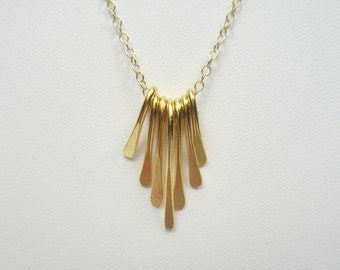 Gold Graduated Bar Necklace, Gold Paddle Bar, Gold Fringe Necklace, Minimalist Necklace, Dainty Necklace, 14k Gold Filled Chain