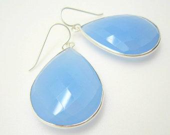 Large Light Blue Chalcedony Earrings, Sterling Silver Earrings, Sky Blue Teardrop Earrings, Statement Earrings, Inspired by Stella and Dot