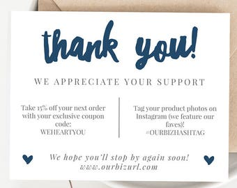 Instant business thank you cards editable pdf printable instant business thank you cards editable pdf printable packaging inserts for online shops etsy fbccfo Gallery