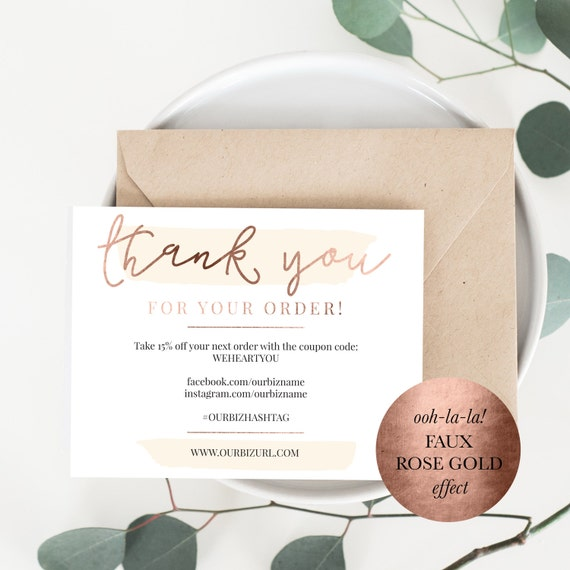 Instant business thank you cards editable pdf packaging reheart Image collections