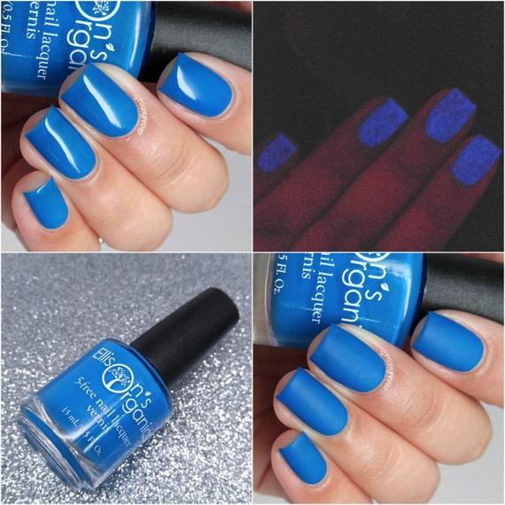 MATTE Neon Blue Nail Polish Glow-in-the-Dark Vegan Neon | Etsy