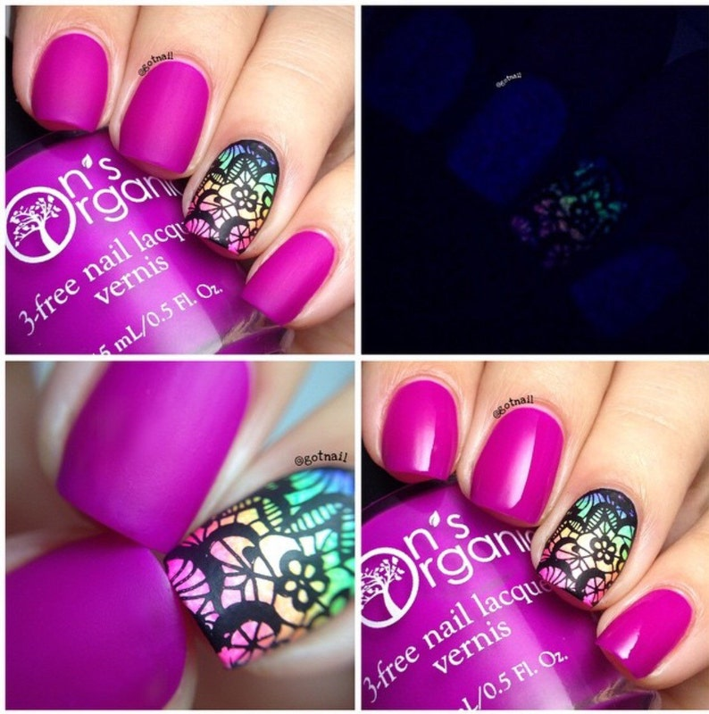 MATTE Purple Nail Polish Glow in the Dark Nail Polish | Etsy