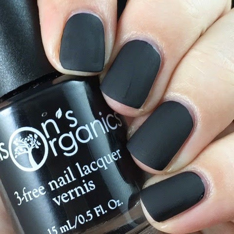 MATTE Black Nail Polish Vegan matte nail lacquer for nail | Etsy