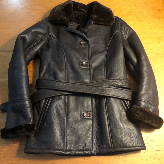 Beautiful Vintage Shearling Leather Jacket with Be