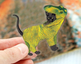 Black Cat Dressed as T-Rex for Halloween Vinyl Sticker