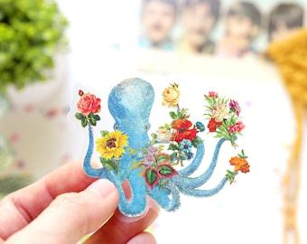 Octopus with Garden of Wild Flowers Vinyl Sticker