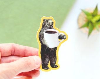 Bear Coffee Drinker Vinyl Water Bottle Sticker