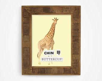 Funny Giraffe Art Print, Wild Animal Wall Art, Giraffe Gift