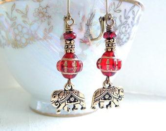 Gold Elephant Earrings Indian Elephant Dangles Bohemian Style Red Czech Glass Earrings Boho Earrings Animal Lover Fun Colorful Gift for Her